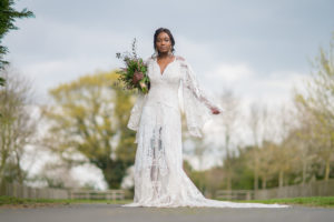 Boho bride in Rue de Seine dress at Applewood Hall