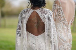 Bride glitter back design at Applewood Hall