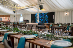 Rustic wedding reception at Applewood Hall