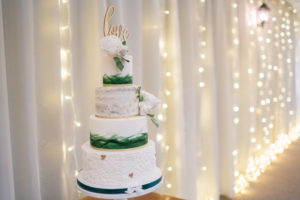 Semi-naked wedding cake at Applewood Hall