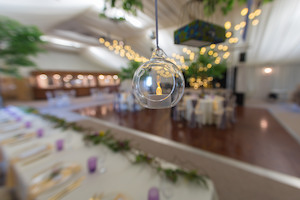 Canopy trees and hanging tealights at Applewood Hall
