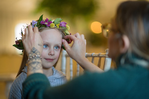 Flower fairy girl with flower crown at Applewood Hall