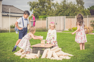 Giant Jenga in the Wedding Garden at Applewood Hall