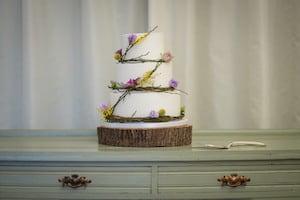 Three tier enchanted wedding cake