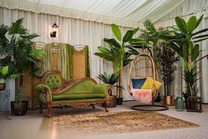 Vintage lounge seating at Applewood Hall